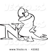 Vector of a Happy Cartoon Newt Leaning on the Letter N - Coloring Page Outline by Toonaday
