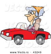 Vector of a Happy Cartoon Old Lady Driving a Red Convertible Car by Toonaday