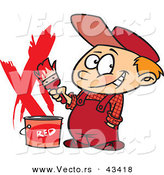Vector of a Happy Cartoon Painter Boy with a Bucket of Red Paint and a Paintbrush by Toonaday