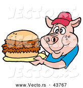 Vector of a Happy Cartoon Pig Holding a BBQ Pork Sandwich by LaffToon