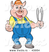 Vector of a Happy Cartoon Pig Holding BBQ Tongs While Giving a Thumb up Hand Gesture by LaffToon