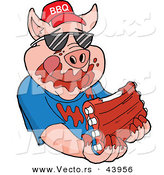 Vector of a Happy Cartoon Pig Wearing a BBQ Hat While Eating Tasty Ribs Covered with Sauce by LaffToon