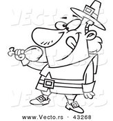 Vector of a Happy Cartoon Pilgrim Eating a Turkey Drumstick - Coloring Page Outline by Ron Leishman