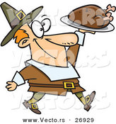 Vector of a Happy Cartoon Pilgrim Man Carrying a Roasted Turkey on a Platter by Toonaday