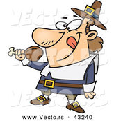 Vector of a Happy Cartoon Pilgrim Preparing to Eat a Turkey Drumstick by Toonaday