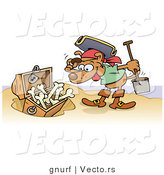 Vector of a Happy Cartoon Pirate Dog Looking at Treasure Chest Full of Doggy Bones on a Beach by Gnurf