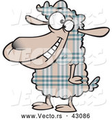 Vector of a Happy Cartoon Plaid Sheep Smiling by Toonaday