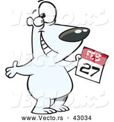 Vector of a Happy Cartoon Polar Bear Holding with a February 27th Calendar Day - Polar Bear Day by Ron Leishman