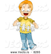 Vector of a Happy Cartoon School Boy Holding a Paper Family Cut out by BNP Design Studio