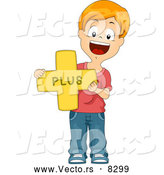 Vector of a Happy Cartoon School Boy Holding a Plus Math Symbol by BNP Design Studio