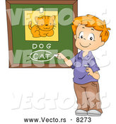 Vector of a Happy Cartoon School Boy Identifying a Cat Dog Comparison Picture Correctly by BNP Design Studio