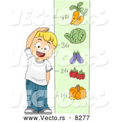 Vector of a Happy Cartoon School Boy Measuring His Height with Vegetables by BNP Design Studio