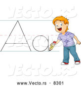 Vector of a Happy Cartoon School Boy Practicing the Letter 'Aa' by BNP Design Studio
