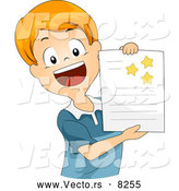 Vector of a Happy Cartoon School Boy Showing off Gold Stars on His Report by BNP Design Studio