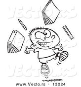 Vector of a Happy Cartoon School Boy Tossing School Supplies into the Air - Coloring Page Outline Version by Toonaday