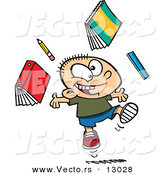 Vector of a Happy Cartoon School Boy Tossing Supplies into the Air by Toonaday