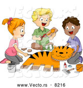 Vector of a Happy Cartoon School Children Putting Together a Tiger in Art Class by BNP Design Studio