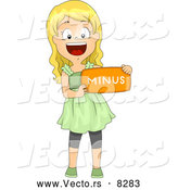Vector of a Happy Cartoon School Girl Holding a 'Minus' Math Symbol by BNP Design Studio