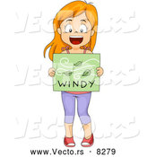 Vector of a Happy Cartoon School Girl Holding a 'Windy' Weather Poster by BNP Design Studio