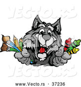 Vector of a Happy Cartoon School Gray Wolf Mascot Holding Art Supplies by Chromaco