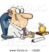 Vector of a Happy Cartoon School Principal Sitting at His Desk with a Golden Apple by Toonaday