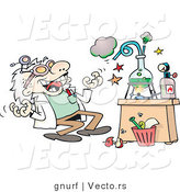 Vector of a Happy Cartoon Scientist Experimenting in His Lab with Chemicals by Gnurf
