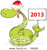 Vector of a Happy Cartoon Snake Wearing a Santa Hat While Coiled Around a 2013 Happy New Sign by Hit Toon