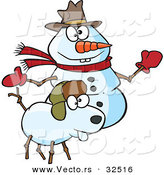 Vector of a Happy Cartoon Snow Dog and Snowman by Toonaday