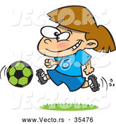 Vector of a Happy Cartoon Soccer Girl Running with the Ball by Toonaday