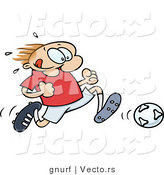 Vector of a Happy Cartoon Soccer Player Running with the Ball by Gnurf