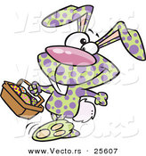 Vector of a Happy Cartoon Spotted Easter Bunny Carrying a Basket of Painted Eggs by Toonaday