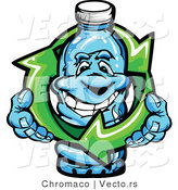 Vector of a Happy Cartoon Spring Water Bottle Mascot Within Green Recycle Arrows by Chromaco