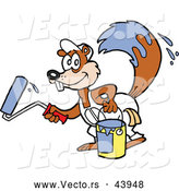 Vector of a Happy Cartoon Squirrel with a Bucket of Paint and a Roller by LaffToon