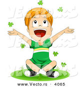 Vector of a Happy Cartoon St. Patrick's Day Boy Tossing Clovers into the Air by BNP Design Studio