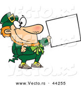 Vector of a Happy Cartoon St. Patricks Day Leprechaun Holding out a Sign by Toonaday