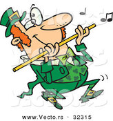 Vector of a Happy Cartoon St. Patrick's Day Leprechaun Playing Flute Music by Toonaday