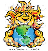 Vector of a Happy Cartoon Sun Mascot Holding Earth in His Hands by Chromaco