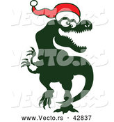 Vector of a Happy Cartoon Tyrannosaurus Rex Wearing Santa Hat by Zooco