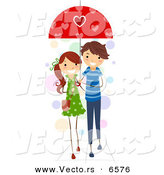 Vector of a Happy Cartoon Valentine Boy and Girl Sharing an Umbrella by BNP Design Studio