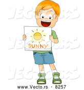 Vector of a Happy Cartoon White School Boy Holding a 'Sunny' Weather Flash Card by BNP Design Studio