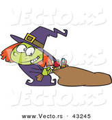 Vector of a Happy Cartoon Witch with a Heavy Sack of Halloween Candy by Toonaday