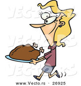 Vector of a Happy Cartoon Woman Carrying a Roasted Turkey on a Platter by Toonaday
