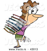 Vector of a Happy Cartoon Woman Carrying Stack of Library Books by Toonaday