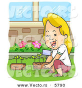 Vector of a Happy Cartoon Woman Gardening at Her Home by BNP Design Studio