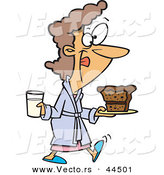 Vector of a Happy Cartoon Woman Having Milk and Cake for BreakfastHappy Cartoon Woman Having Milk and Cake for Breakfast by Toonaday