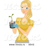 Vector of a Happy Cartoon Woman Holding a Small Plant Sprouting from a Pot by BNP Design Studio