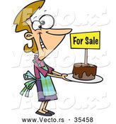 Vector of a Happy Cartoon Woman Selling Chocolate Cakes at a Bake Sale by Toonaday