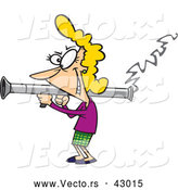 Vector of a Happy Cartoon Woman Shooting a Bazooka by Ron Leishman