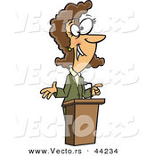 Vector of a Happy Cartoon Woman Speaking at a Podium by Toonaday