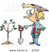 Vector of a Happy Cartoon Woman Standing Beside Her New Tree with a Shovel by Toonaday